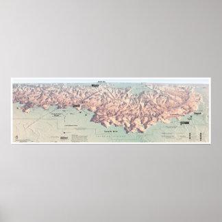Póster Poster del sur del mapa del borde del Gran Cañón