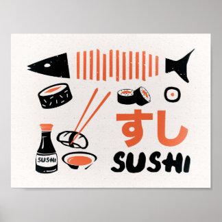 Póster Poster del sushi del vintage