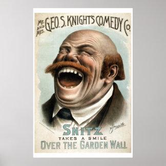 Póster Poster del teatro del vintage del Co de la comedia