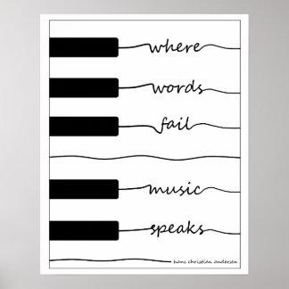 Póster Poster del teclado de piano con cita inspirada