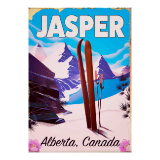 Póster Poster del viaje de Alberta Canadá del jaspe