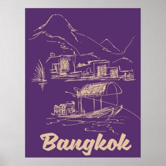 Póster Poster del viaje de Bangkok, Tailandia