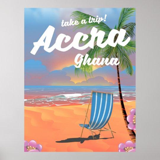 Póster Poster del viaje de la playa de Accra Ghana