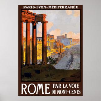 Póster Poster del viaje de las ruinas de Roma Italia del