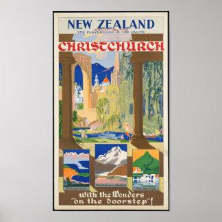 Póster Poster del viaje de Nueva Zelanda del vintage