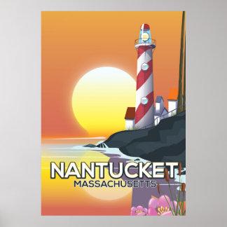 Póster Poster del viaje del faro de Nantucket