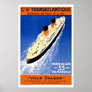 Póster Poster del viaje del francés del vintage