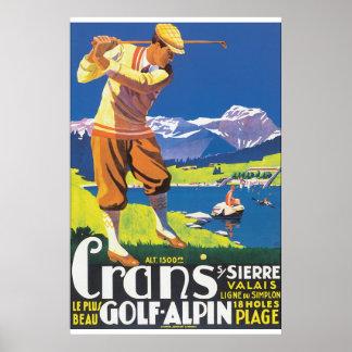 Póster Poster del viaje del vintage de Alpin del golf