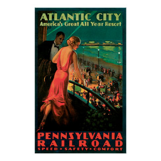 Póster Poster del viaje del vintage de Atlantic City New