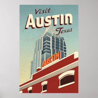 Póster Poster del viaje del vintage de Austin Tejas