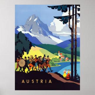 Póster Poster del viaje del vintage de Austria