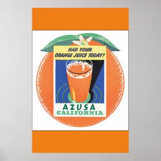 Póster Poster del viaje del vintage de Azusa California
