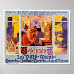 Póster Poster del viaje del vintage de Brujas restaurado