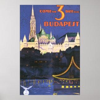Póster Poster del viaje del vintage de Budapest