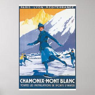 Póster Poster del viaje del vintage de Chamonix Mont
