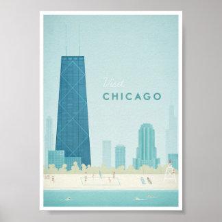 Póster Poster del viaje del vintage de Chicago