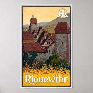 Póster Poster del viaje del vintage de Francia Riquewihr