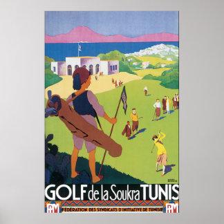 Póster Poster del viaje del vintage de Golf de La Soukra