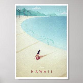 Póster Poster del viaje del vintage de Hawaii