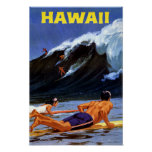 Póster Poster del viaje del vintage de Hawaii restaurado
