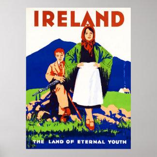 Póster Poster del viaje del vintage de Irlanda