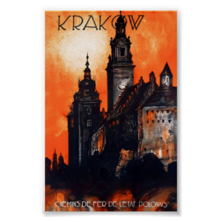 Póster Poster del viaje del vintage de Kraków Polonia