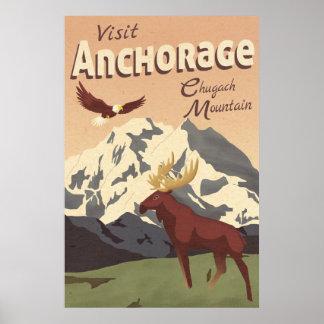 Póster Poster del viaje del vintage de la montaña de