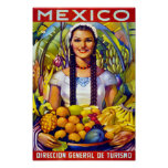 Póster Poster del viaje del vintage de México restaurado