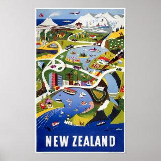 Póster Poster del viaje del vintage de Nueva Zelanda