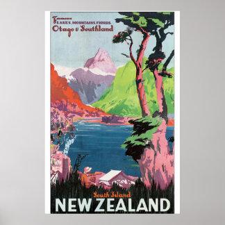 Póster Poster del viaje del vintage de Nueva Zelanda de