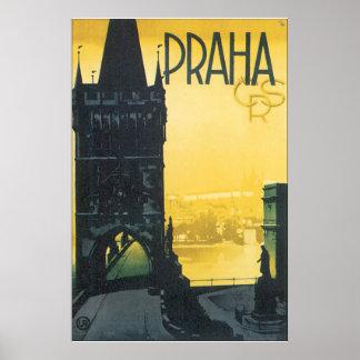 Póster Poster del viaje del vintage de Praga
