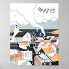 Póster Poster del viaje del vintage de Reykjavik,
