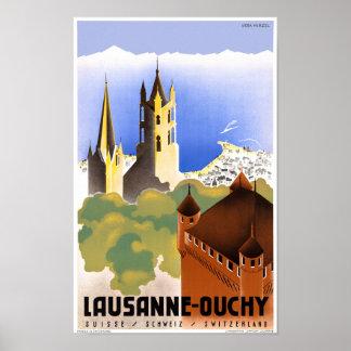 Póster Poster del viaje del vintage de Suiza Lausanne