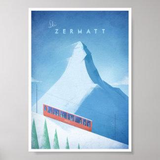 Póster Poster del viaje del vintage de Zermatt del esquí
