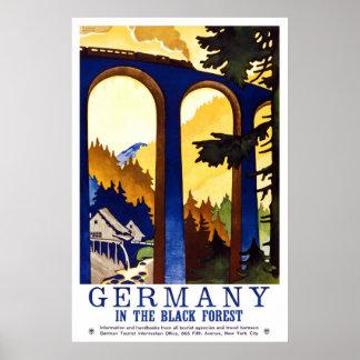 Póster Poster del viaje del vintage del bosque negro de