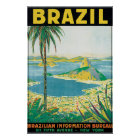 Póster Poster del viaje del vintage del Brasil