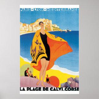 Póster Poster del viaje del vintage del de Calvi Corse