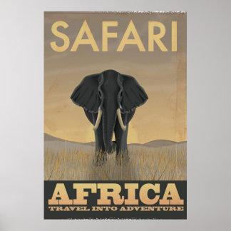 Póster Poster del viaje del vintage del safari de África