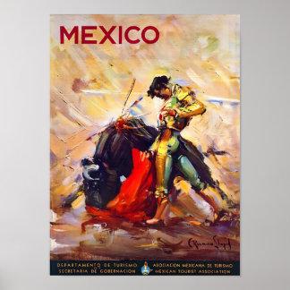 Póster Poster del viaje del vintage del torero de México