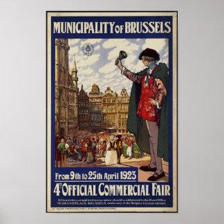 Póster Poster del viaje del vintage para Bruselas