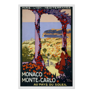 Póster Poster del viaje del vintage para Mónaco y Monte