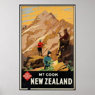 Póster Poster del viaje del vintage para Nueva Zelanda