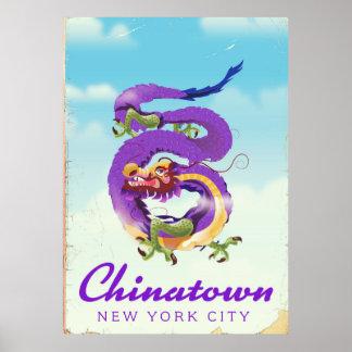 Póster Poster del vintage de Chinatown New York City