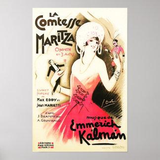 Póster Poster del vintage de Comtesse Maritza del La