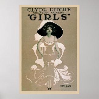 Póster Poster del vintage de la comedia de los chicas de