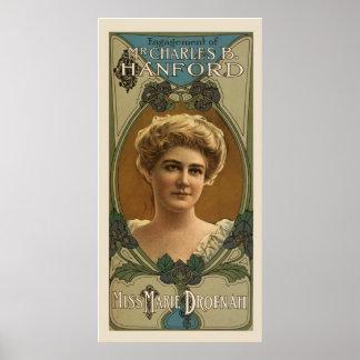 Póster Poster del vintage de la invitación del compromiso