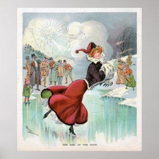 Póster Poster del vintage de la mujer del patinaje de