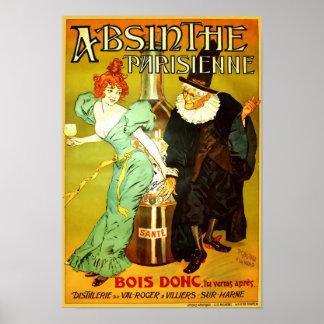 Póster Poster del vintage de Parisienne del ajenjo