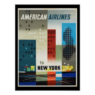 Póster Poster del vintage del art déco de Nueva York