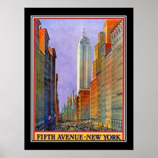 Póster Poster del vintage del art déco de Nueva York de